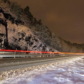 Cold Mid-night ride by Alireza Shakernia - Transportation Roads ( car, cold, nightshot, snow, road, light )