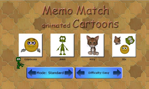 Memo Match Animated Cartoons