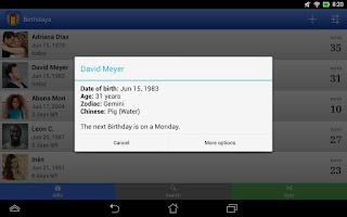 Screenshot of Birthdays for Android