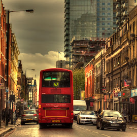 Commercial Street by Laura Prieto - City,  Street & Park  Street Scenes ( london street, red bus, london, spitalfields, commercial street, street photography, jack the ripper,  )