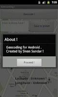 Screenshot of Geocoding