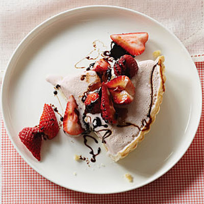 Strawberry Frozen Yogurt Pie with Balsamic Syrup