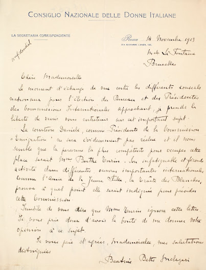 Letter  from the National Council of Italian Women (Consiglio Nazionale Delle  Donne Italiane) addressed to Léonie La Fontaine - 1913