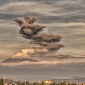 Smoking volcano by Cristobal Garciaferro Rubio - Landscapes Mountains & Hills ( volcano, popo, smoking, mexico, puebla, smowy volcano, popocatepetl, volcanoes, lenticular clouds, eruption, smokw )