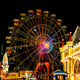 Luna Park NSW by Loredana  Smith - Abstract Light Painting ( ride, rollercoaster, rotate, wheel, merry, colorful, sensation, joy, circle, blur, recreation, attraction, dizzy, luna, child, funfair, risk, circular, lunapark, whirligig, happy, carousel, spin, festival, motion, twirl, light, move, ferris, turn, extreme, park, speed, carnival, bulbs, fun, kids, machine, centrifuge, fair, rotating, amusement, fly, centrifugal, night, celebration, high, big )