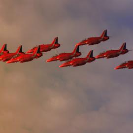 Dusk Display by Kelly Murdoch - Transportation Airplanes ( sky, display, jets, planes, dusk, red reds, ztam )