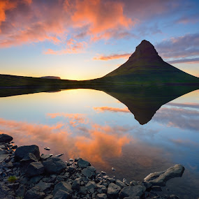 Duality by Lucian Satmarean - Landscapes Waterscapes ( water, kirkjufell, iceland, mountain, sunset, rocks )
