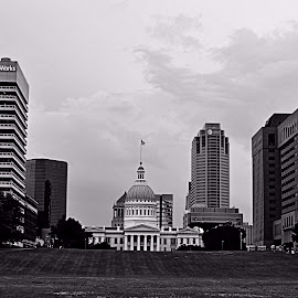 Down town St.louis by Meghann Bothe - City,  Street & Park  Skylines ( black and white, cityscape )