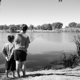 Brothers Fishing by Wimpie Theron - People Street & Candids ( fish, dam, playfull, fishing, kids )
