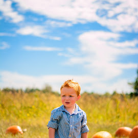 Pumpkin by Brandi Davis - Babies & Children Children Candids ( farm, sky, pumpkin, fall, pumpkins, day, toddler, boy,  )