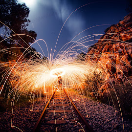 On the Railway by Dimitris Damien - Abstract Light Painting ( sparkles, steel wool, railway, night photography, long exposure, night, nightscape )