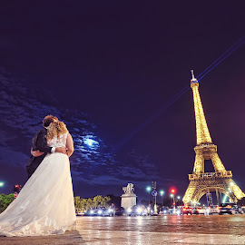 From Paris with Love by Marius Godeanu - Wedding Bride & Groom ( love, paris, wedding, godeanu, eiffel, bride, groom )