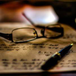 Blurred vision by Sondre Gunleiksrud - Artistic Objects Education Objects ( canon, cup, math, old, prime lens, words, glasses, hdr, 50mm, word, mathematics, bokeh )