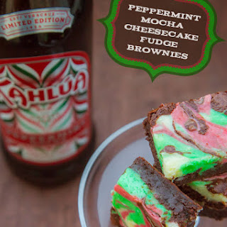 Peppermint Cheesecake Brownies with Kahlúa Peppermint Mocha