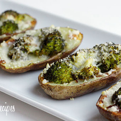 Broccoli and Cheddar Skinny Potato Skins