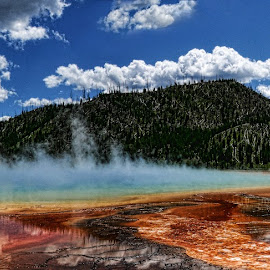 Grand Prismatic Spring by Brad Crezee - Landscapes Travel ( clouds, water, orange, blue, green, colors, yellowstone national park, yellow, nikon, grand prismatic spring )