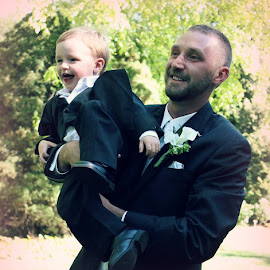 Father and Son by Cassie Waggoner - People Street & Candids ( love, dad, happy, wedding, son,  )