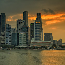 A Moment of Gold in the City by Kristianus Setyawan - City,  Street & Park  Skylines ( skyline, city scene, waterscape, cityscape, landscape, marina bay, singapore, city, reservoir, nature, city view, skyporn, landscape photography, nature photography, city skyline, skyscape )