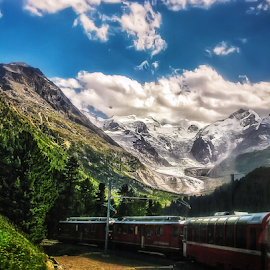 Bernina Express by Andrea Conti - Transportation Trains ( clouds, mountain, bernina, forest, landscape, svizzera, italia, transport, treno, snow, train, switzerland, italy )