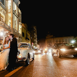 Lights by Jorge Asad - Wedding Bride & Groom ( lights, cars, wedding, bride, romance, groom )