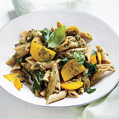 Golden Beet Pasta with Basil-Almond Pesto
