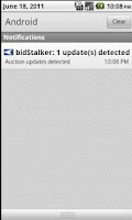 Screenshot of bidStalker Lite for eBay