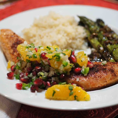 Grilled Salmon with Orange & Pomegranate Salsa