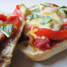 Chicken and Roasted Red Bell Pepper Ciabatta Pizzas