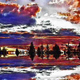 backyard painting by Leslie Collins - Digital Art Places ( clouds, sunset, reflections, sun rays )