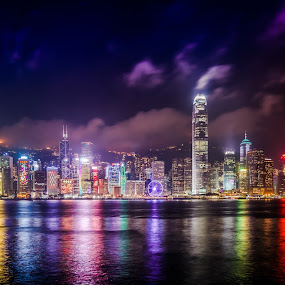 Victoria Harbor - Hong Kong by Gary Piazza - City,  Street & Park  Skylines ( sony, hong kong, skyline, victoria harbor, zeiss, cityscape, panoramic, city at night, street at night, park at night, nightlife, night life, nighttime in the city,  )