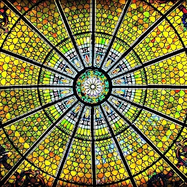 Stain Glass Ceiling by Mary Kaye Zugelder - Buildings & Architecture Other Interior ( ceiling, daniel stowe, botanical garden, entrance, stained glass, Architecture, Ceilings, Ceiling, Buildings, Building )