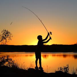 Fishing at Sunset. by Heather Steyn - Landscapes Sunsets & Sunrises ( shangani, sunset, fishing )