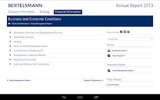Screenshot of Bertelsmann Annual Report 2013