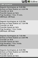 Screenshot of LIRR Schedule