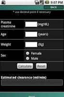Screenshot of IRCALC - Drug dosage in RF