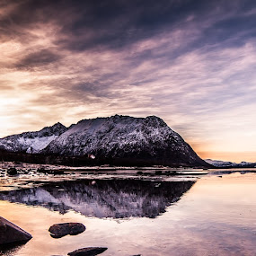 Sunset bay by Benny Høynes - Landscapes Waterscapes ( sunset, vesterålen, reflections, colours, norway )