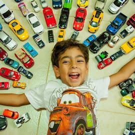 KIDS LOVE CARS by Yasser Abusen - Babies & Children Children Candids ( orange, red, blue, d90, colors, cars, toys, children, kids, yellow, nikon )