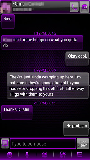 GO SMS Theme Purple Kush Glass