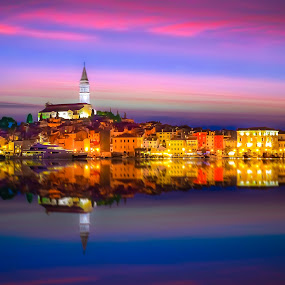 Sunset over Rovinj, Croatia by Marcin Frąckiewicz - City,  Street & Park  Vistas ( sunset, croatia, rovinj,  )