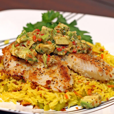 Panko Crusted Tilapia with Avocado Salsa