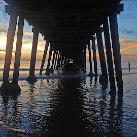 Henley sunset by Pamela Howard - Buildings & Architecture Bridges & Suspended Structures ( water, structure, sky, wooden, sunset, sea, bridge, jetty, sun )
