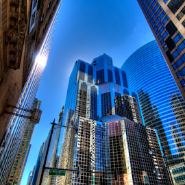 Chicago Skyscrapers by Sean Price - City,  Street & Park  Skylines ( urban, taxi, skyscraper, wide angle, block, chicago, city )