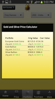 Screenshot of Silver and Gold Prices Live