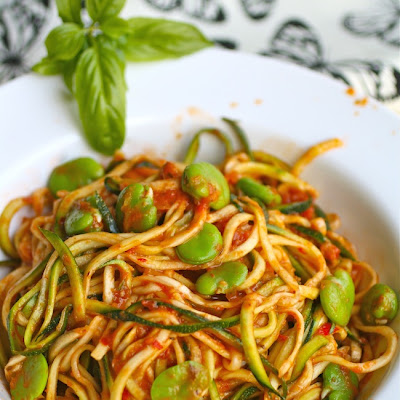 Zucchini Pasta with Fava Beans and Harissa Sauce