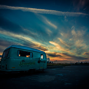 Icecream mood... by Eugen Chirita - Landscapes Sunsets & Sunrises ( sky, caravan, blue, sunset, yellow, amagerstrand, icecream )