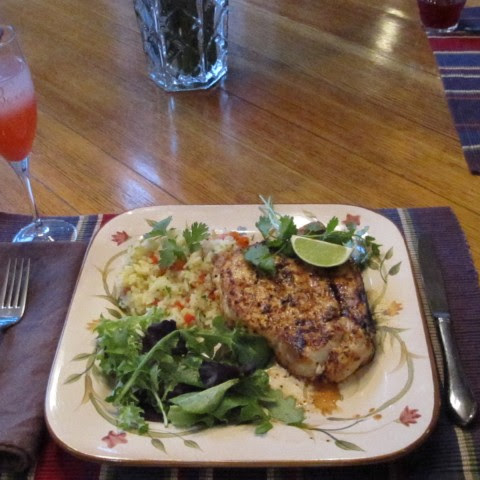 Grilled Jerk Swordfish with Pineapple Rice