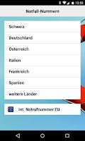 Screenshot of Helvetia Notfall Applikation