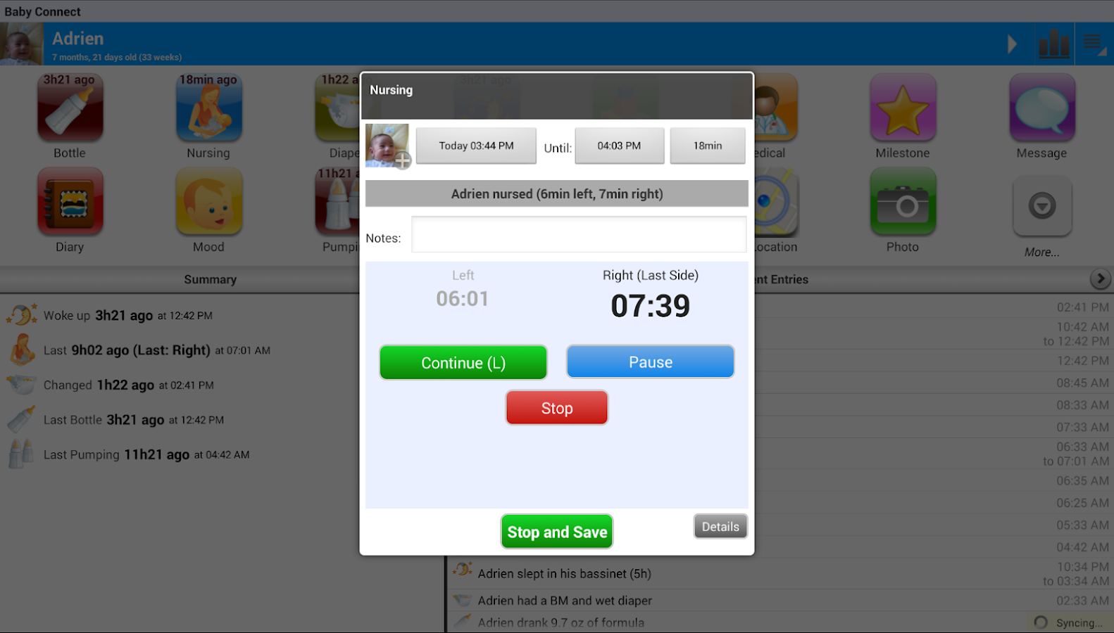 Baby Connect (activity logger) Screenshot 10
