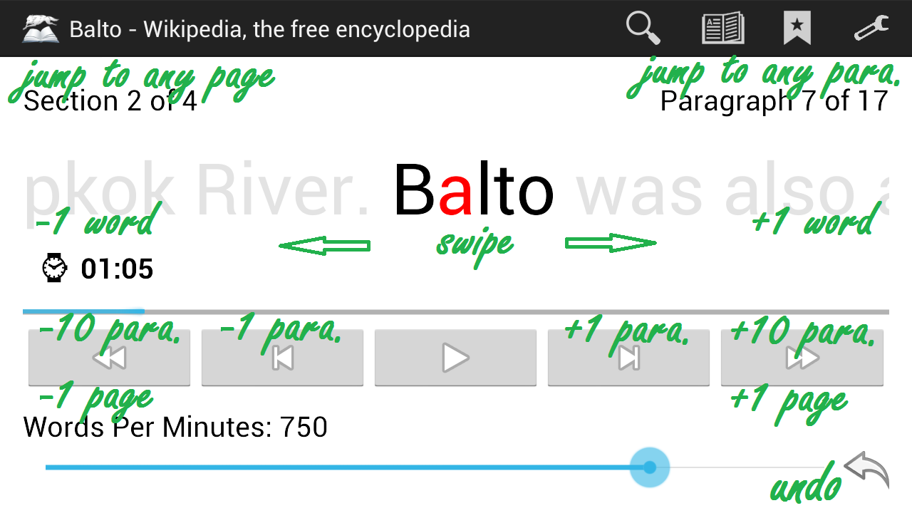 Balto Speed Reading Screenshot 2