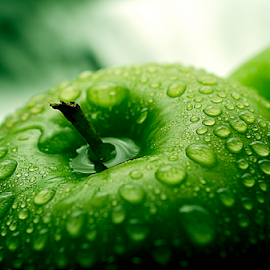 A green apple by Roman Kolodziej - Food & Drink Fruits & Vegetables ( fruit, tasty, nature, fresh, apple, green, background )